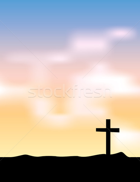 Christian Cross Silhouette at Sunrise Sunset Illustration Stock photo © enterlinedesign