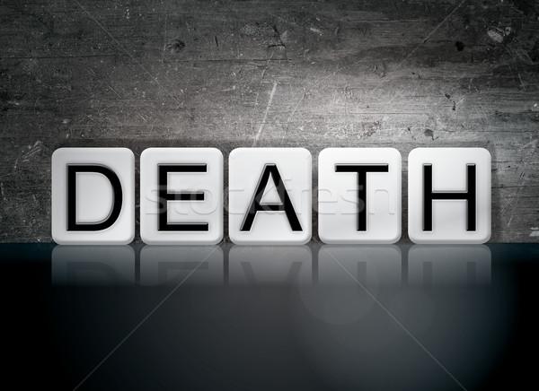 Mort carrelage lettres mot écrit blanche Photo stock © enterlinedesign