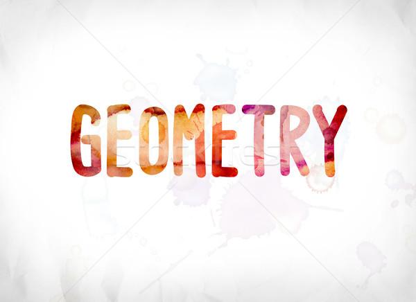 Geometria pintado aquarela palavra arte colorido Foto stock © enterlinedesign