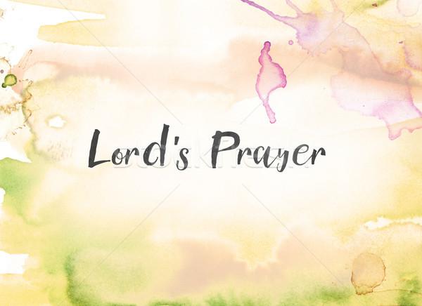 Oración acuarela tinta pintura palabras escrito Foto stock © enterlinedesign