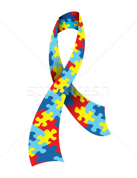 Autisme bewustzijn lint symbolisch patroon Stockfoto © enterlinedesign