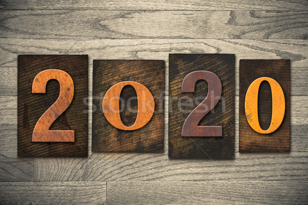 2020 Wood Letterpress Concept Stock photo © enterlinedesign