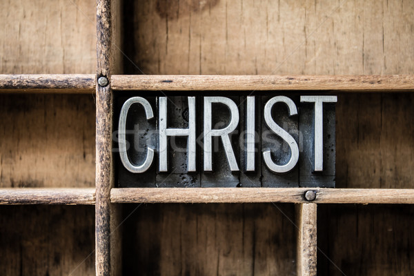 Christ Letterpress Type in Drawer Stock photo © enterlinedesign
