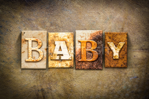 Baby Concept Letterpress Leather Theme Stock photo © enterlinedesign
