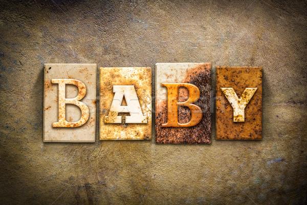 Bébé cuir mot écrit rouillée Photo stock © enterlinedesign