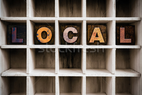 Local Concept Wooden Letterpress Type in Drawer Stock photo © enterlinedesign