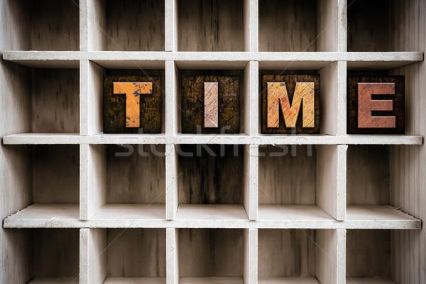 Tijd houten type lade woord Stockfoto © enterlinedesign