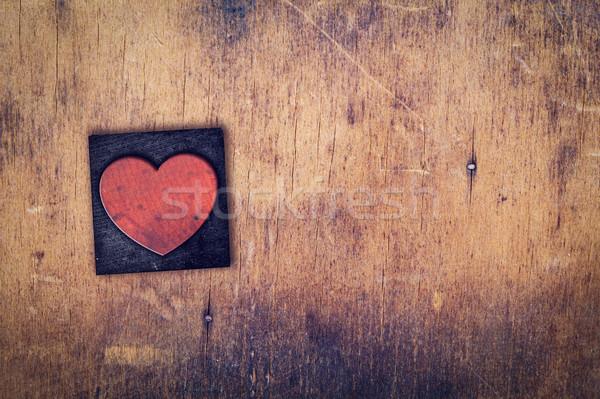 Single Heart Wooden Letterpress Type Stock photo © enterlinedesign