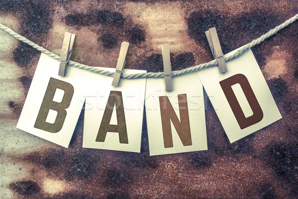 Stock photo: Band Concept Pinned Stamped Cards on Twine Theme