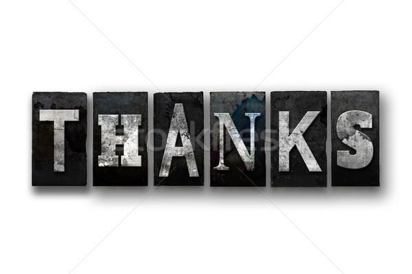 Teşekkürler yalıtılmış tip kelime yazılı Stok fotoğraf © enterlinedesign