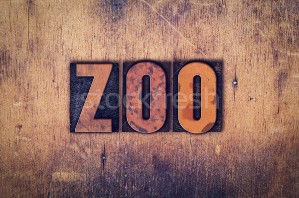 Zoo Concept Wooden Letterpress Type Stock photo © enterlinedesign