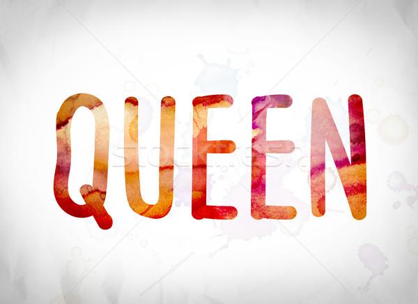 Königin Wasserfarbe Wort Kunst geschrieben weiß Stock foto © enterlinedesign