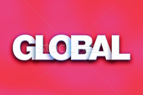 Globale kleurrijk woord kunst geschreven witte Stockfoto © enterlinedesign