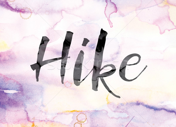 Hike Colorful Watercolor and Ink Word Art Stock photo © enterlinedesign