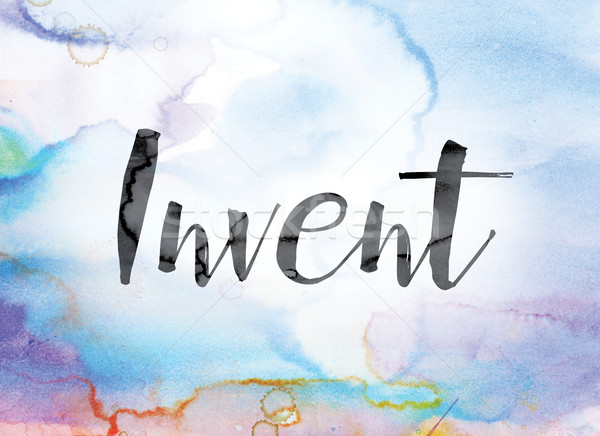 Invent Colorful Watercolor and Ink Word Art Stock photo © enterlinedesign