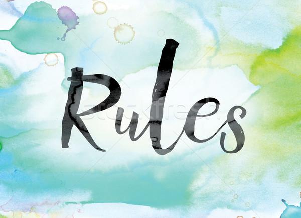 Kurallar renkli suluboya mürekkep kelime sanat Stok fotoğraf © enterlinedesign