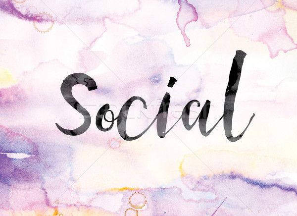 Social Colorful Watercolor and Ink Word Art Stock photo © enterlinedesign