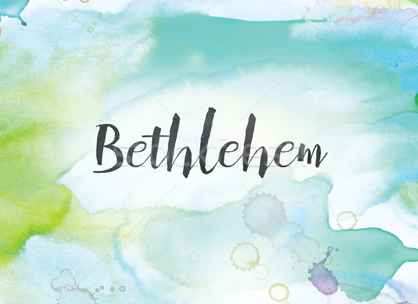 Bethlehem Concept Watercolor and Ink Painting Stock photo © enterlinedesign