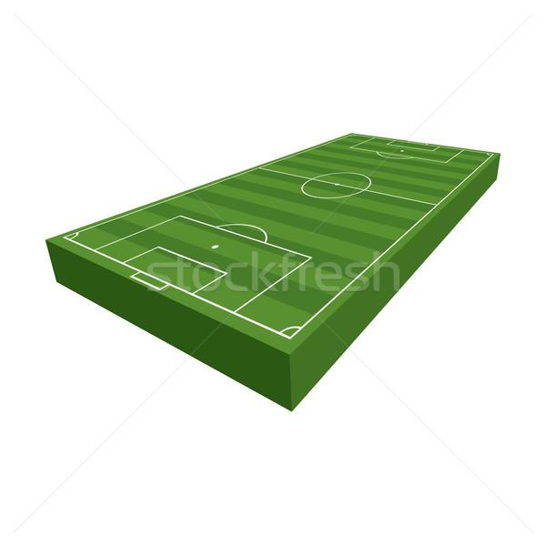 3D fútbol campo de fútbol ilustración 3d hierba verde Foto stock © enterlinedesign