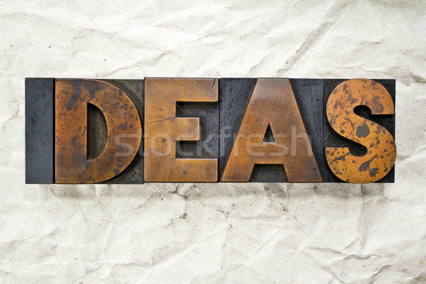 Fikirler kelime yazılı bağbozumu tip Stok fotoğraf © enterlinedesign