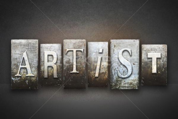 Kunstenaar woord geschreven vintage type Stockfoto © enterlinedesign