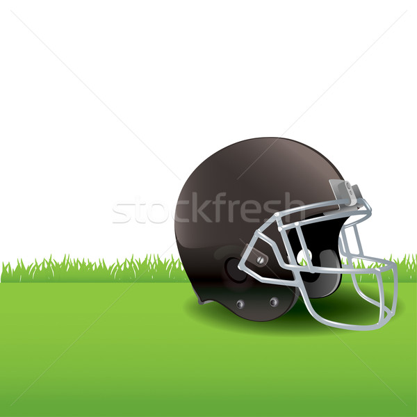 American Football Helmet Sitting on Grass Illustration Stock photo © enterlinedesign