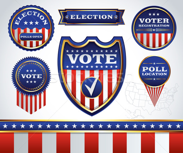 Set of Election and Voting Badges and Labels Stock photo © enterlinedesign