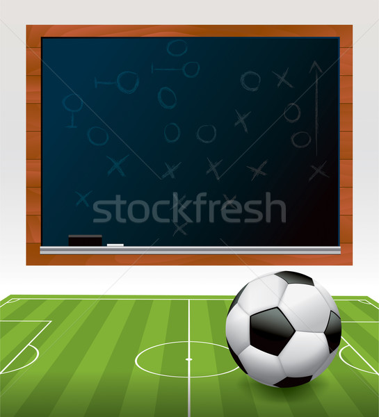 Balón de fútbol campo pizarra ilustración fútbol verde Foto stock © enterlinedesign
