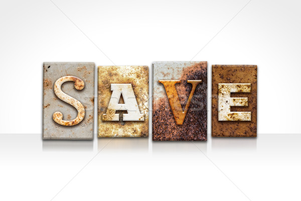 Save Letterpress Concept Isolated on White Stock photo © enterlinedesign