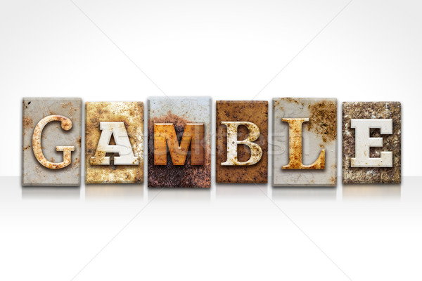 Gamble Letterpress Concept Isolated on White Stock photo © enterlinedesign