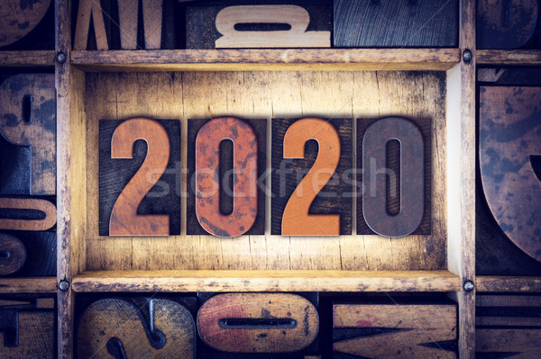 2020 Concept Letterpress Type Stock photo © enterlinedesign
