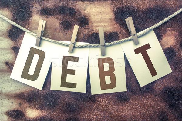 Schulden Karten Schnur Wort alten Stück Stock foto © enterlinedesign