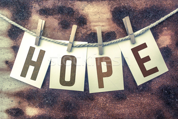 Hope Concept Pinned Stamped Cards on Twine Theme Stock photo © enterlinedesign