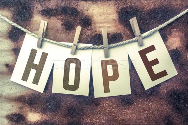 Hoffnung Karten Schnur Wort alten Stück Stock foto © enterlinedesign