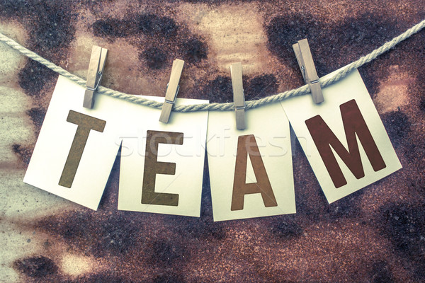 Team Concept Pinned Stamped Cards on Twine Theme Stock photo © enterlinedesign