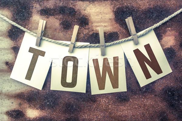 Város kártyák zsinór szó öreg darab Stock fotó © enterlinedesign
