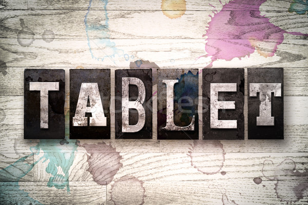 Foto stock: Tableta · metal · tipo · palabra · escrito