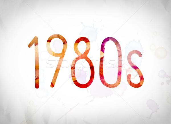 1980 acuarela cuvant artă scris alb Imagine de stoc © enterlinedesign