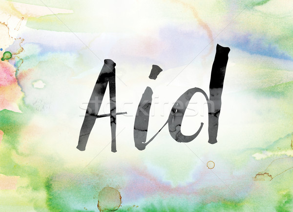 Aid Colorful Watercolor and Ink Word Art Stock photo © enterlinedesign