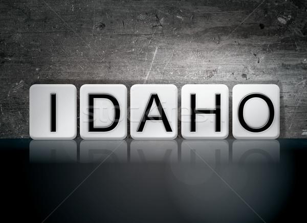Idaho betegelde brieven woord geschreven witte Stockfoto © enterlinedesign