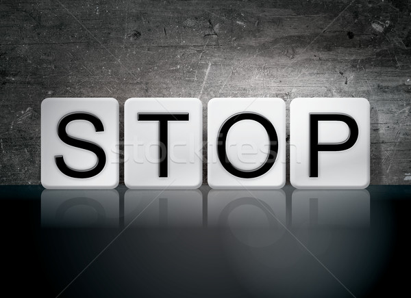 Stop Tiled Letters Concept and Theme Stock photo © enterlinedesign