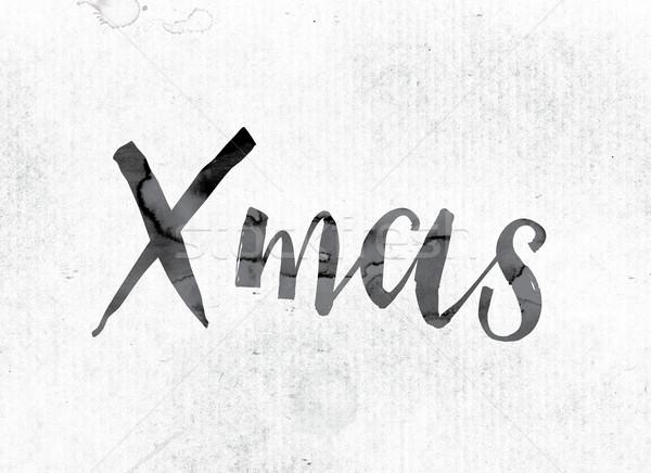ストックフォト: クリスマス · 描いた · インク · 言葉 · 水彩画 · 白