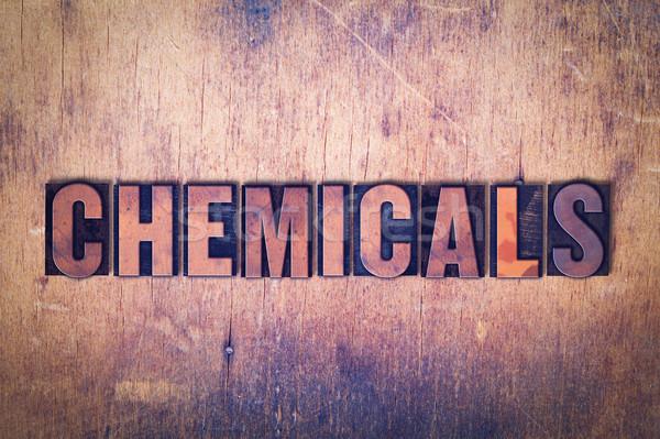 химикалии слово древесины написанный Vintage Сток-фото © enterlinedesign