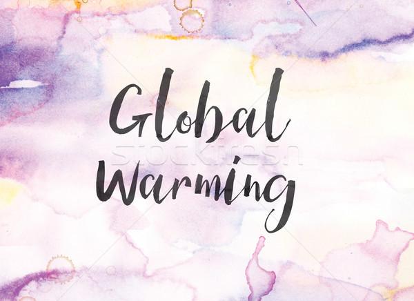 Globalne ocieplenie akwarela atramentu malarstwo słowa napisany Zdjęcia stock © enterlinedesign