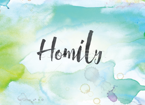 Homily Concept Watercolor and Ink Painting Stock photo © enterlinedesign