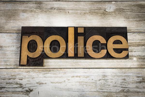 Politie woord houten geschreven type Stockfoto © enterlinedesign