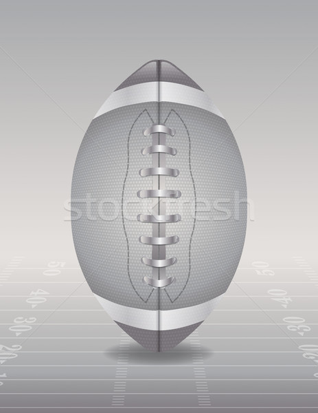 Silver American Football and Field Illustration Stock photo © enterlinedesign