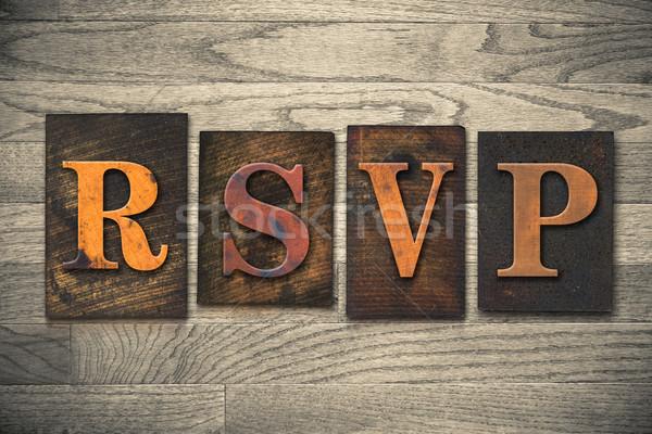 RSVP Wooden Letterpress Concept Stock photo © enterlinedesign