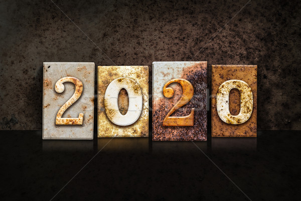 2020 Letterpress Concept on Dark Background Stock photo © enterlinedesign