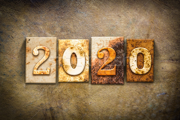 2020 Concept Letterpress Leather Theme Stock photo © enterlinedesign